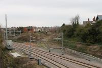 All catenary in place at Poulton on 12th April 2018, just prior to reopening of the Blackpool North line the following Monday. The semaphore still guards the severed Fleetwood tracks but a only a pile of rubble marks the site of the box that controlled it.<br><br>[Mark Bartlett&nbsp;12/04/2018]