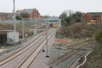 A maintenance team was just adjusting the final few connectors at Poulton on 12th April 2018 but the line from Preston to Blackpool North is completely wired now and ready for reopening (initially to diesel trains) on the 16th. Electric services will start with the May 2018 timetable. [See image 19029] for the view from this overbridge ten years earlier. <br><br>[Mark Bartlett&nbsp;12/04/2018]