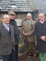A plaque was unveiled today at Rogart to celebrate the 150th anniversary of the opening of the Sutherland Railway. Seen here after the unveiling are (l to r) Frank Roach, Lord Strathnaver, Bill Reeve TS and Jamie Stone MP.<br><br>[John Yellowlees&nbsp;13/04/2018]
