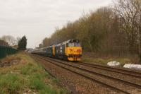 50049 and 50007 head east from Bamber Bridge hauling 'The Cumbrian Hoovers' railtour from Birmingham International to Carlisle on 14 April 2018. The outward journey was via the S&C with the return around the Cumbrian coast.<br><br>[John McIntyre&nbsp;14/04/2018]