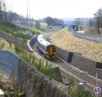 ScotRail 158739+158730 forming the 0945 ex-Tweedbank approaching Gorebridge on its way to Edinburgh on Sunday 8 April 2018. The train has just passed below the 'footbridge in a field' [see image 54218].<br><br>[John Furnevel&nbsp;08/04/2018]
