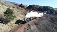 45157 <I>The Glasgow Highlander</I> climbs out of Lochailort towards<br> Mallaig with <I>The Jacobite</I> on 1st April 2018. The blue backgound of the smokebox numberplate is a nice touch.<br> <br> <br><br>[John Gray&nbsp;01/04/2018]