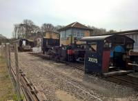 The cab, tanks and boiler have been removed from USA 0-6--0T 30075 to improve the view of Shillingstone signal box. Obvious, really. View looks South West from the North Dorset Trailway.<br><br>[Ken Strachan 06/04/2018]