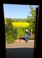Pre-packaged countryside: looking North through an open door between Bristol and Bath on the Avon Valley Railway.<br><br>[Ken Strachan 07/05/2018]