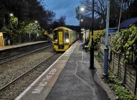 Digital cameras have a way of exaggerating contrast at dusk. This makes Avoncliff Halt look even more idyllic than it really is. The train is the 16.40 to Portsmouth Harbour, running late, on 4 November 2018. [Ref query 10 November 2018] <br><br>[Ken Strachan 04/11/2018]