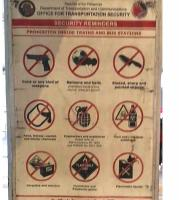 It doesn't worry me at all that the Office for Transportation Security exhorts people not to carry pots of paint or car batteries on the Light Rail System. The references to guns and hand grenades are more disturbing. Poster seen at Santolan station.<br><br>[Ken Strachan 29/12/2018]