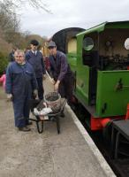 'Oi! Come back with that thimble!' Precision coaling at Bitton on the Avon Valley Railway on 16th March 2019.<br><br>[Ken Strachan 16/03/2019]