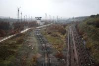 The pathetic remains of the once mighty Tinsley Marshalling Yard.<br><br>[Ewan Crawford&nbsp;23/11/2004]