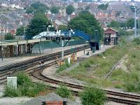 Barry station with the former line to the docks (right). At the time this was the limit for passenger trains but the route was a through route for freight.<br><br>[Ewan Crawford&nbsp;//]
