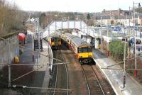 Trains for Dalmuir (left) and Larkhall meet at Hamilton Central in March 2006.<br><br>[John Furnevel&nbsp;17/03/2006]