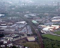 Aerial view of Paisley St James, (former) Walkinshaw Junction the former goods yards and line running to Wallneuk Junction.<br><br>[Ewan Crawford&nbsp;//]