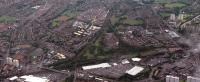 Aerial view of Whifflet (left) to Coatbridge Central (right) with the line to Rutherglen leaving from a triangular junction. Also visible is the site of Whifflet Upper.<br><br>[Ewan Crawford&nbsp;//]