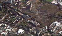 Aerial view of the former South Side station (centre) later the Gushetfaulds container depot. Eglinton Street station was bottom left, Gorbals Junction top left and Larkfield Junction is bottom right. Clearly a Rutherglen to Gorbals spur could be put in.<br><br>[Ewan Crawford&nbsp;//]