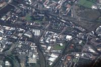 Aerial view of Glasgows South Side looking east. Smithy Lye (bottom centre), Eglinton Street (centre), Gushetfaulds (top right), Central approach (centre left) and St Enoch approach (top left).<br><br>[Ewan Crawford&nbsp;//]