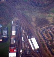 Slightly poor aerial view of Motherwell MPD. The original route of the line to Motherwell is from top left to centre right.<br><br>[Ewan Crawford&nbsp;//]