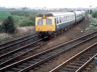 Southbound DMU at Carmuirs West Junction viewed from the box.<br><br>[Ewan Crawford&nbsp;//]