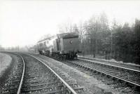 Approaching Newtyle from Alyth Junction. C.R. 0.4.4T 55226.<br><br>[G H Robin collection by courtesy of the Mitchell Library, Glasgow&nbsp;06/04/1953]