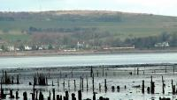 Viewed across the old timber ponds at Port Glasgow is a westbound train approaching Cardross.<br><br>[Ewan Crawford&nbsp;//]