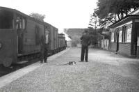 Dolphinton trip, June 1949, the year before the line closed to all traffic. View east with CR 0-6-0 17399 alongside the platform at the old Caley station. A link line to the NBR once ran below the A702 road bridge in the background. [see image 7427]. <br><br>[G H Robin collection by courtesy of the Mitchell Library, Glasgow&nbsp;04/06/1949]