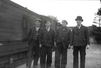 Dolphinton trip, June 1949. Guard, Shunter, Driver, Inspector constable.<br><br>[G H Robin collection by courtesy of the Mitchell Library, Glasgow&nbsp;04/06/1949]