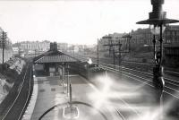 Pollokshields station (east). Pickersgill 4.4.0 54465 on inner train.<br><br>[G H Robin collection by courtesy of the Mitchell Library, Glasgow&nbsp;19/07/1949]