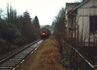 Eastbound 37 hauled train at Ach-na-cloich. Station building now demolished.<br><br>[Ewan Crawford&nbsp;//1988]