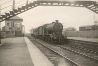 Duns station. Giving up tablet on entering.<br><br>[G H Robin collection by courtesy of the Mitchell Library, Glasgow&nbsp;07/04/1950]