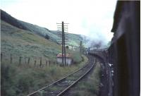 Class 5 approaching Greskine box with a train on 31 July 1965. View from the banking locomotive 42693. <br><br>[John Robin&nbsp;31/07/1965]