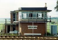 Dunning signalbox, now demolished. View looks north.<br><br>[Ewan Crawford&nbsp;//1989]