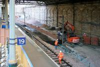 New through platform construction underway on the north side of Waverley opposite platform 19 on Sunday 9 April 2006.<br><br>[John Furnevel&nbsp;09/04/2006]