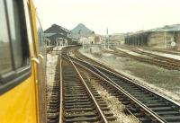 Blackburn west end, before roof removal, viewed from behind an eastbound 47.<br><br>[Ewan Crawford&nbsp;25/03/1989]