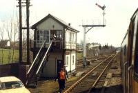 Appleby signalbox and Appleby North Junction viewed from southbound train.<br><br>[Ewan Crawford&nbsp;25/03/1989]