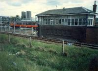 Clydebank Dock signalbox which controlled Yoker Yard (later depot) and the Rothesy Dock Branch. Abolished with the Yoker resignaling scheme.<br><br>[Ewan Crawford&nbsp;//1987]