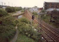 Knightswood South Junction looking to Anniesland. The track (left) was lifted shortly afterwards.<br><br>[Ewan Crawford&nbsp;//1987]
