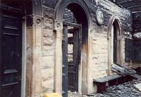 The burned interior of Crookston station. The building has been rebuilt and is now lived in.<br><br>[Ewan Crawford //1987]