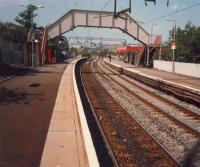 Drumchapel looking west. This station has (had?) amazingly long platforms.<br><br>[Ewan Crawford&nbsp;//1987]