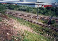 Terminus Junction looking north. Junction between the lines to Muirhouse Central Junction (nearer) and Larkfield Junction.<br><br>[Ewan Crawford&nbsp;//1987]