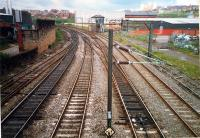 Sighthill Junction. Left to right; line for St Rollox, chord to Germiston and line to Barnhill and Bellgrove. The box survived the Yoker resignaling scheme for a few years.<br><br>[Ewan Crawford&nbsp;//1987]