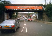 Bridges at Jordanhill. View looks north. Taken from the bridge over the original Whiteinch Railway alignment (obliterated).<br><br>[Ewan Crawford&nbsp;//1987]