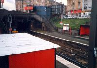 Flat roof sheds and booking office at Duke Street. Looking to Bellgrove.<br><br>[Ewan Crawford&nbsp;//1987]