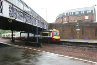 Rainy day at Larbert, northbound arrival - May 2005<br><br>[John Furnevel&nbsp;25/05/2005]