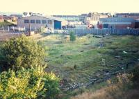 Remains of the Barracks Mineral Depot looking south-east. The GSW and NBR links to Bridgeton Central both passed underneath.<br><br>[Ewan Crawford&nbsp;//1987]