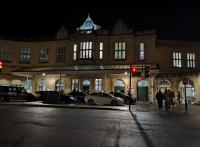 Bath Spa station looking very welcoming on a cold dark November night. Compare to see image [[37202]]<br><br>[Ken Strachan 02/11/2019]