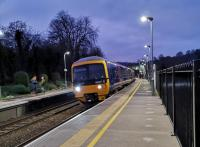 I draw three conclusions from this picture. (1) Digital cameras are great at dusk. (2) Freshford station maintains its amazing ability to attract a crowd just before departure time (3) There is no cant deficiency on the Southbound track. The train is the 16.37 to Westbury on 29th December 2019.<br><br>[Ken Strachan 29/12/2019]