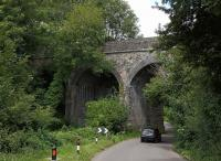 Just when I thought I had tracked down every relic of the S&D in the Bath area, I took a wrong turn in July 2020 and found this viaduct just north of Wellow station. Notice that the up side (to the right) is built of stone, but the down side is a later addition in brick as at Shepton Mallet: see image [[26159]].<br><br>[Ken Strachan 11/07/2020]