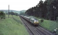 Brush Type 4 D1841 approaches Abington station with train from Manchester in the summer of 1965.<br><br>[John Robin&nbsp;10/07/1965]