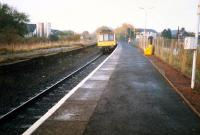 DMU for the south at Stewarton.<br><br>[Ewan Crawford&nbsp;//1987]