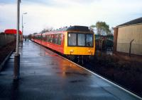 A southbound DMU arrives at the new Kilmaurs station in 1987.<br><br>[Ewan Crawford&nbsp;//1987]