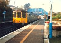 Eastbound DMU at Polmont.<br><br>[Ewan Crawford&nbsp;//1987]
