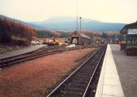 Crianlarich, east side of the station showing the engine shed. Since this photograph was taken a nice new station building in a more WHR chalet style has been built to replace the building on the right.<br><br>[Ewan Crawford&nbsp;//1987]